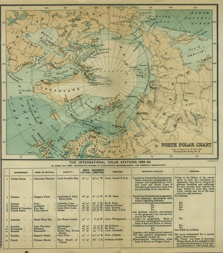North Pole map showing the international polar stations, 1882-1883. Published by the Scottish Geographical Society, 1885