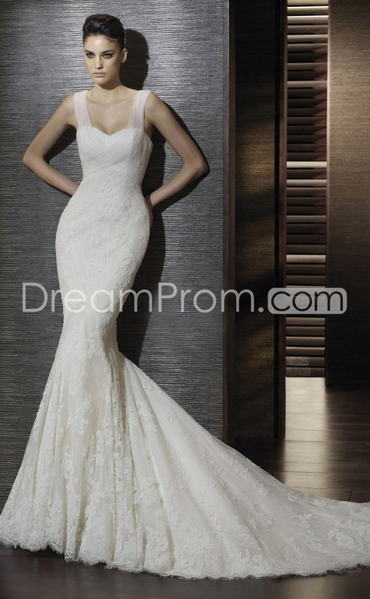 Mermaid Sweetheart Chapel Train Satin Lace Wedding Dresses With Ruffle Beadwork