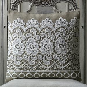 Lace Covered Pillow.....neat! I'm not much of a lace person generally - but this would fit into my comfy decor just fine