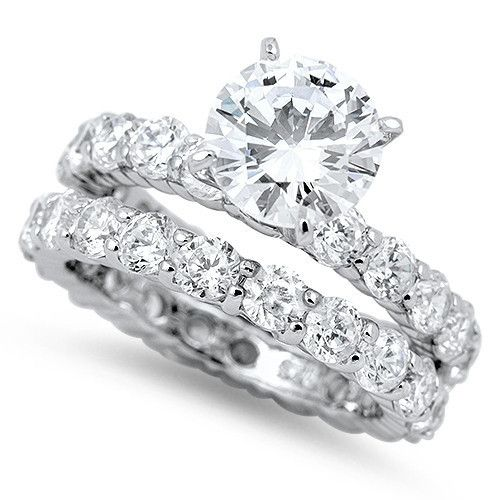 A Perfect 2.9CT Round Cut Solitaire Russian Lab Diamond Bridal Set Wedding Band Rings