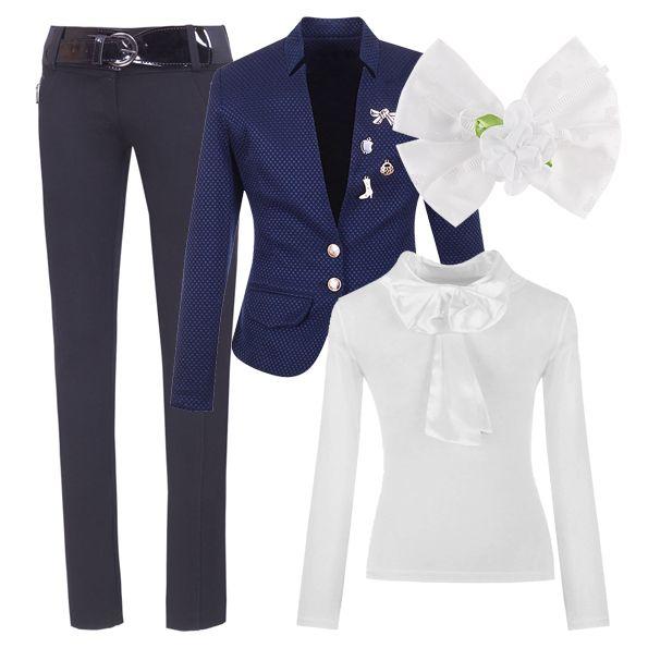 Стильный образ для девочки-подростка. Классические брюки, блузка и пиджак отлично подойдут как для праздника, так и для похода в школу.