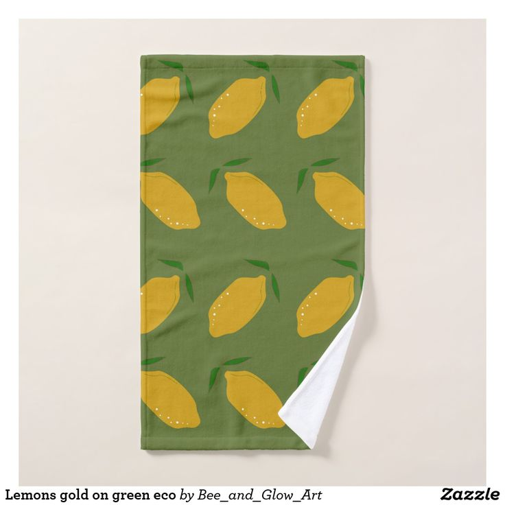 Lemons gold on green eco hand towel