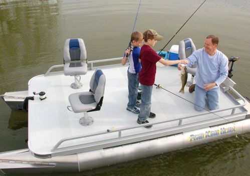 The Pond King Ultra mini pontoon boat has plenty of room for family fishing.