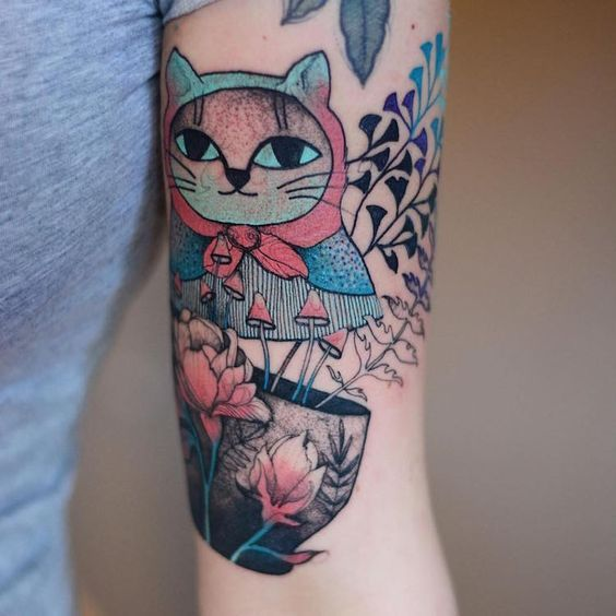 Charming Animal Tattoos Pair Sketched Creatures with Bright Pops of Color