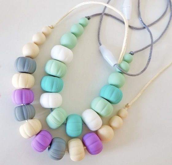 Image of Mixed Colour Pumpkin 'Mumma Beads' Teething Necklaces