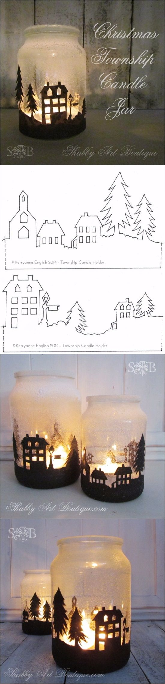 "Materials Glass jar, DecoArt Americana acrylic paint – Lamp Black, Small round paint brushes size 2 and 4, 1/4"" flat brush, Can of Santa Snow, Wire for handle (optional), Isopropyl Alcohol Spray and clean cloth.   Instructions for making painted township 1. Clean jar with soapy water and remove any labels. 2. Wipe outside of […]"