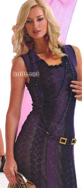 Летнее платье фиолетовое крючком