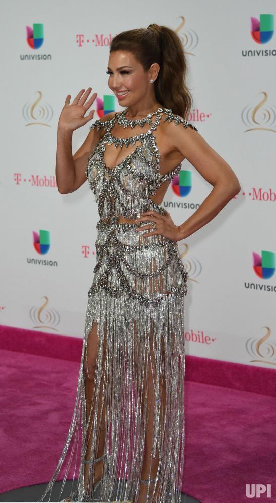 Latin artist Thalia walks the red carpet at the Univision 2017 Premio Lo Nuestro a La Música Latina show at the American Airlines Arena in…