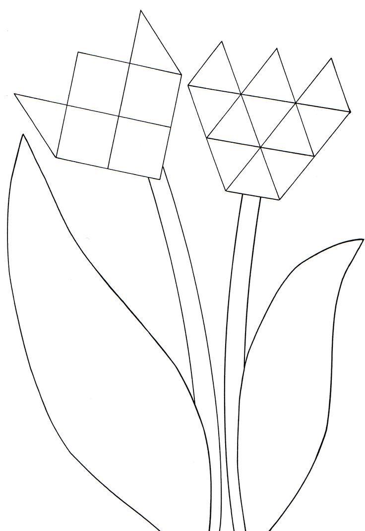 * Tulpen van mozaïekfiguren of ze laten knippen, bladeren laten kleuren, verven scheuren....