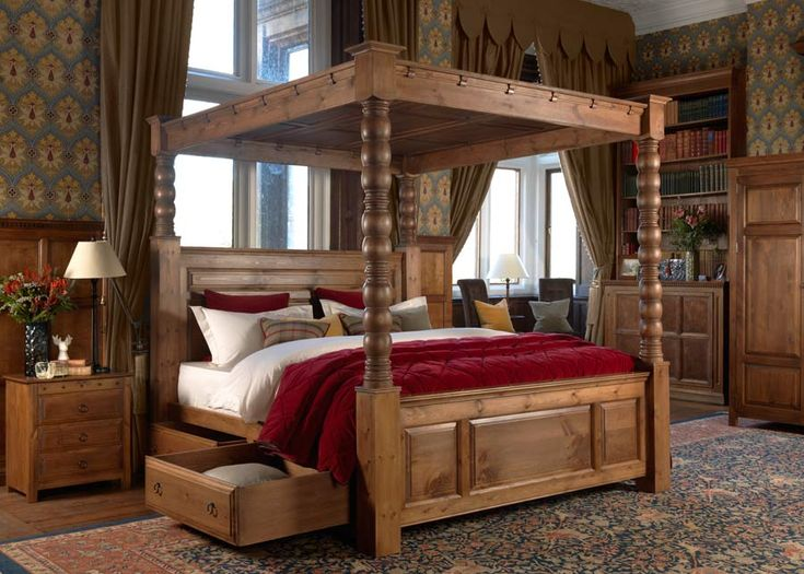 With or without a canopy, the Ambassador four-poster bed is designed to last for a lifetime – the ultimate super-big bed for the ultimate super-big bedroom. Not only are the dimensions of this wooden bed impressive, the build of the bed is equally substantial – a weighty four-poster package of solid, sturdy, turned wood. #grandbeds #grandbedroomideas #bigbedrooms