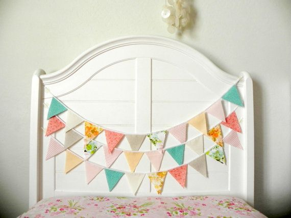 Pink Aqua And Peach Vintage Fabric Bunting, Garland, Banner, Pennant Decoration 9 Feet Handmade By A Fête Beckons On Etsy