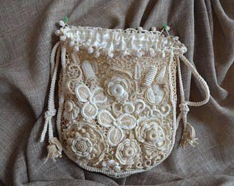 Borsetta borsa irlandese uncinetto regali per le donne fiori fatti a mano per il regalo retrò Widding jewerly pizzo borsa Boho borse fatte a mano regalo per lei