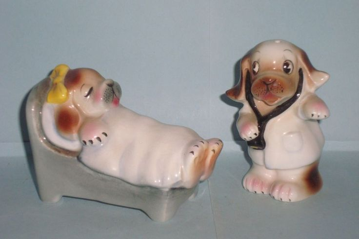 Vintage PY Dogs Doctor & Patient Salt and Pepper Shakers