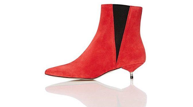 FIND-Botines de Ante con Puntera para Mujer color rojo | Joyería online, joyas de Plata y Oro.