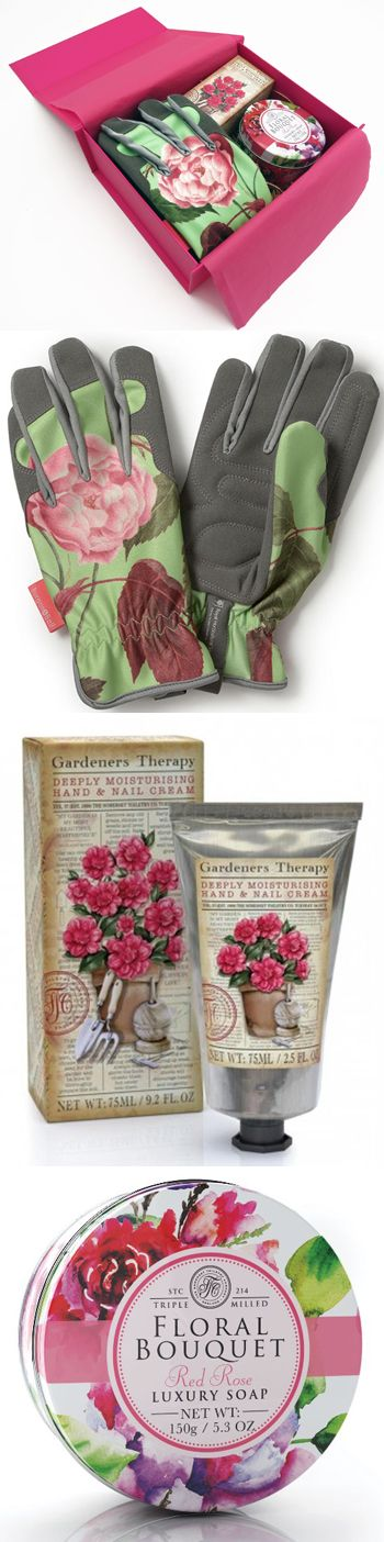 Garden Divas Own Handy Hamper Containing Rosa Chinensis Gloves, Gardeneru0027s  Therapy Handcream And Floral Rose Soap. Presented In Bright Pink Gift Box.
