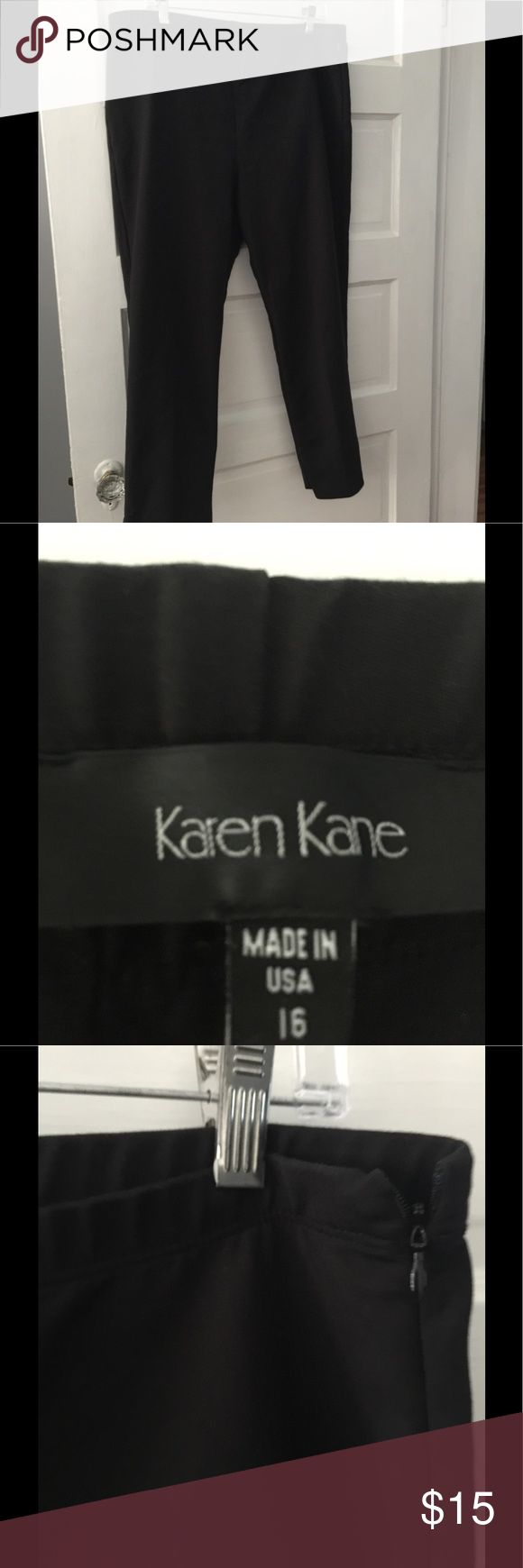 Karen Kane size 16 black cropped pants Karen Kane size 16 cropped pant inseam 26 , elastic waistband flat measures about 19  inches . Hidden side zipper . Slits at ankles . Good condition no tears  or stains Karen Kane Pants Ankle & Cropped