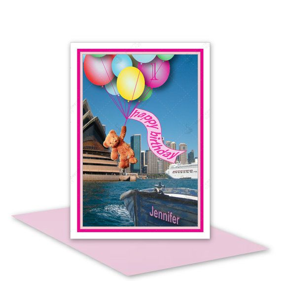 Girls happy birthday card by stuARTconcepts - buy online on #Etsy. Teddy bear called Boo is flying balloons over SydneyHarbour. Personalise the card with a name and age. #teddybear #birthday #card #handmade #Sydney #balloons #personalised