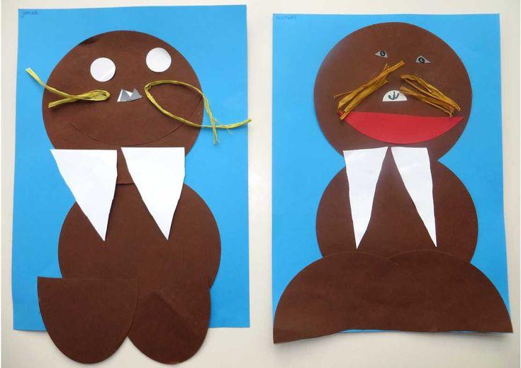 Walrus knippen en plakken, kleuteridee.nl , thema Noordpool & Zuidpool voor kleuters 2