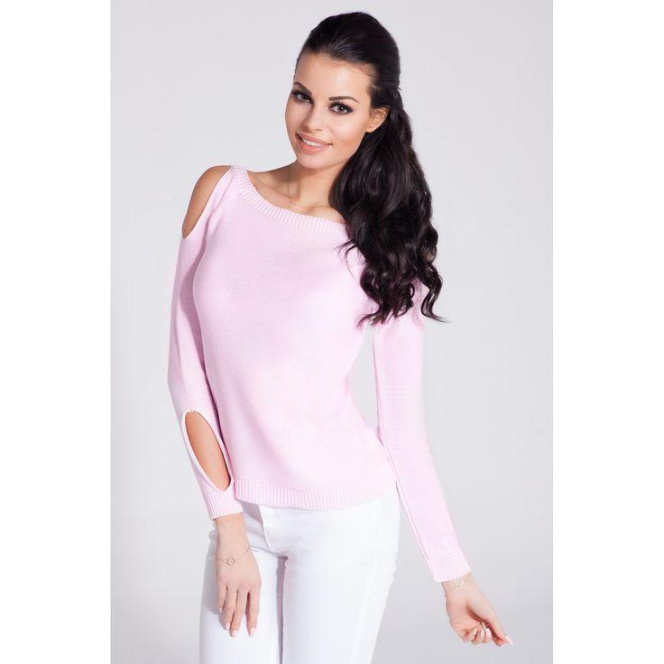 Bluza casual roz de dama cu decupaje decorative  #bluzetricotatedama