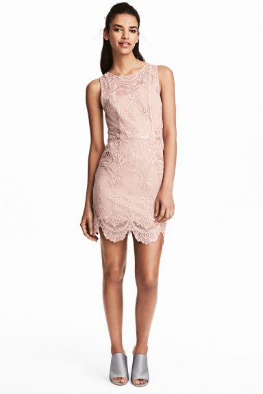 Кружевное платье - Приглушенный розовый - Женщины | H&M RU