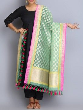 Sea Green-Pink Handwoven Benarasi Kora Silk Dupatta with Tassels