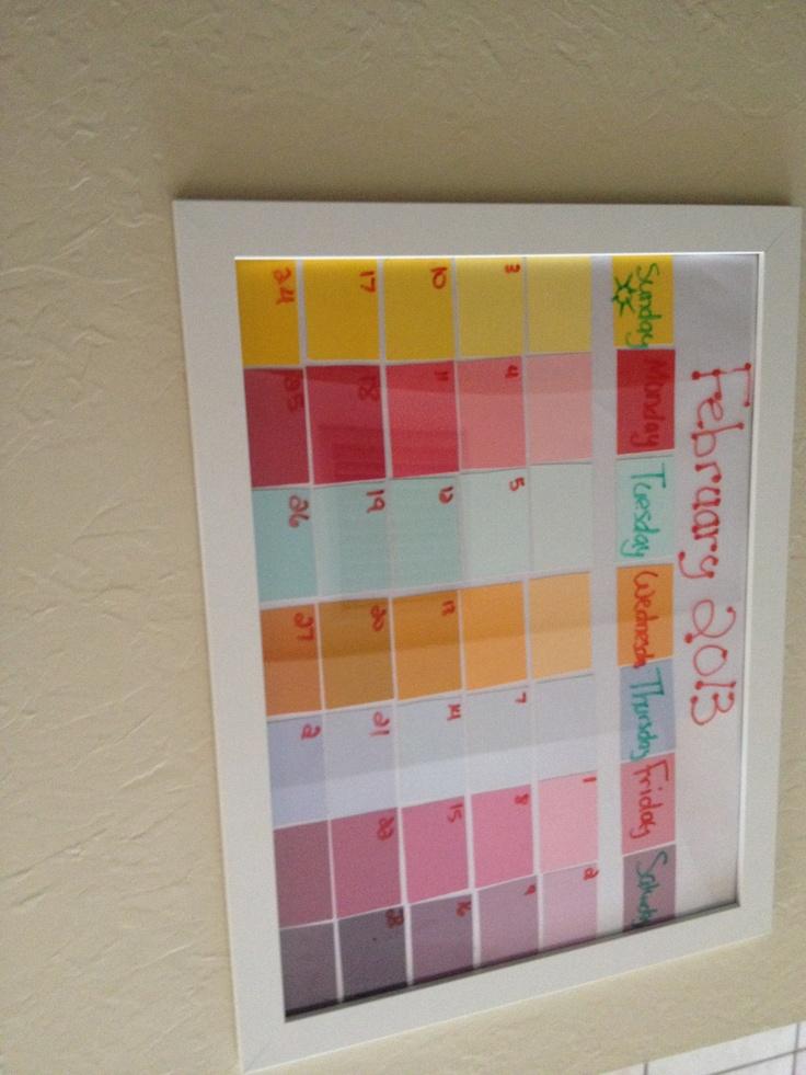 paint sample calendar so easy to make dyi crafts pinterest paint sample calendar dyi