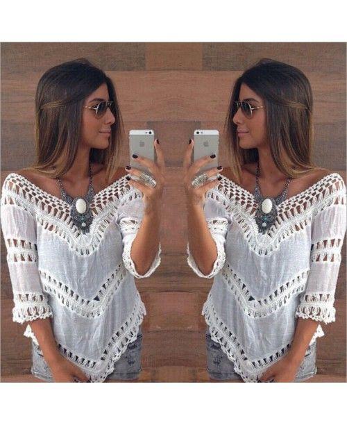 Ажурной вязки соблазнительная хиппи-рубашка белого цвета  для женщин для летнего отдыха