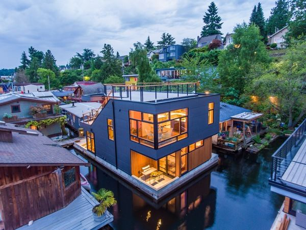 Houseboat Design Seattle Wa Natural Modern Architecture Firm Floating House Houseboat Living House Boat