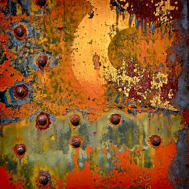 inspiration.. get rusted piece of metal put paint.. peel a bit add mandala sand a bit