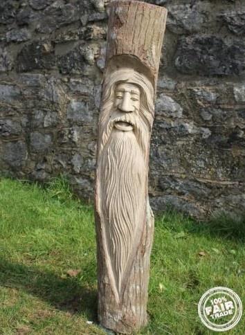Wooden Green man tree trunk Log statue 100cm