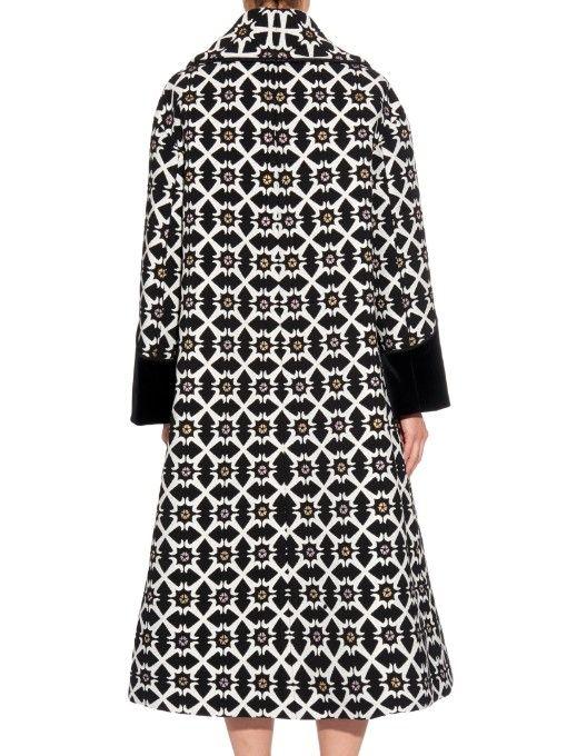Giles Jacquard tile-print coat