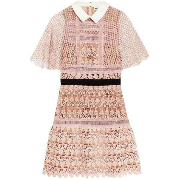 Self-Portrait Guipure lace mini dress (¥46,575) ❤ liked on Polyvore featuring dresses, mini dresses, lace overlay dress, pink lace dress, pink ruffle dress, pastel pink dress and pink lace cocktail dress