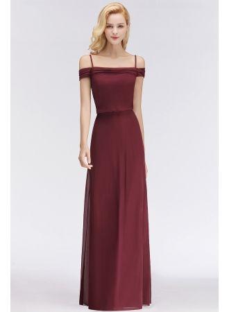Long Off-the-Shoulder Elegant Burgundy A-Line Bridesmaid Dress
