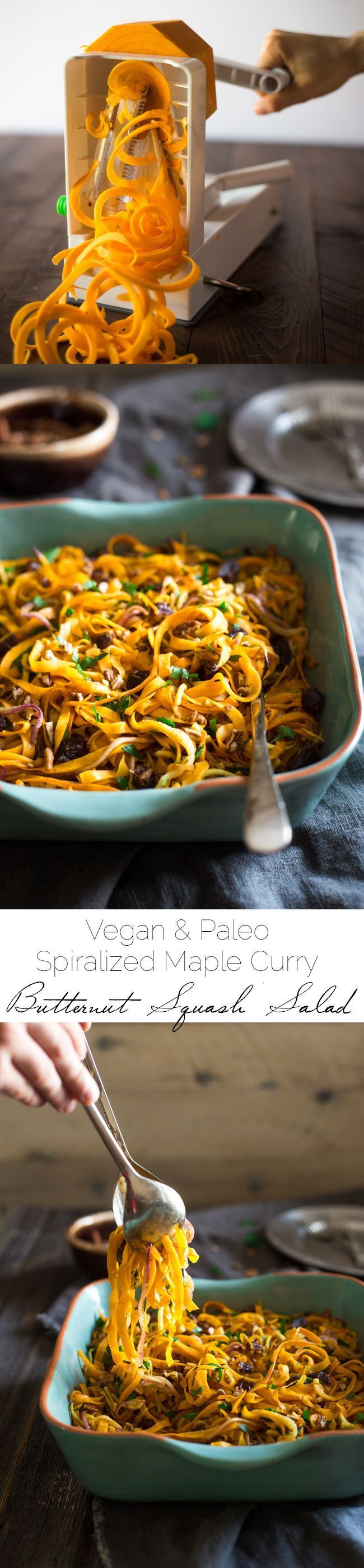 Paleo & Vegan Curried Maple Spiralized Apple and Butternut Squash Salad - This salad is full of apples, dates and pecans. It has a spicy-sweet flavor and is a healthy, paleo and vegan friendly side dish! Perfect for Thanksgiving! | Foodfaithfitness.com | @FoodFaithFit