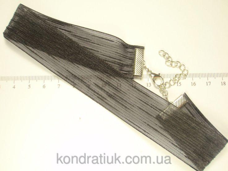 "Чокер ""Черная Тканевая Лента"" на цепочке длина 32-40 см, фото 1"