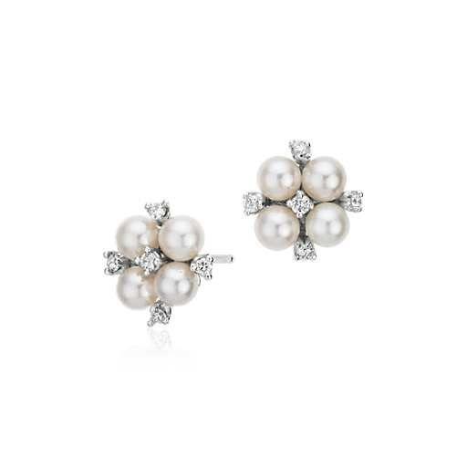 Blue Nile Akoya Cultured Pearl and Diamond Cluster Earrings in 18k White Gold (4mm) SLrPW3CG6