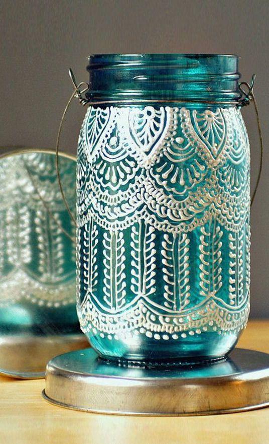 Henna Lace Mason Lantern*