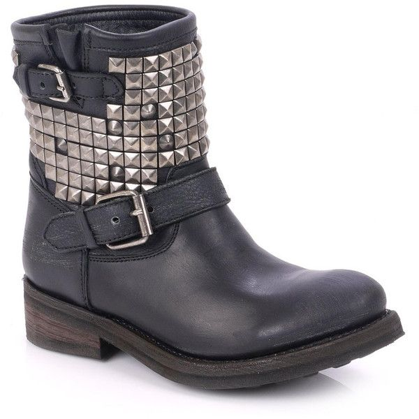 Ash Titan Destroyer Studded Biker Boot - Silver & Black found on Polyvore