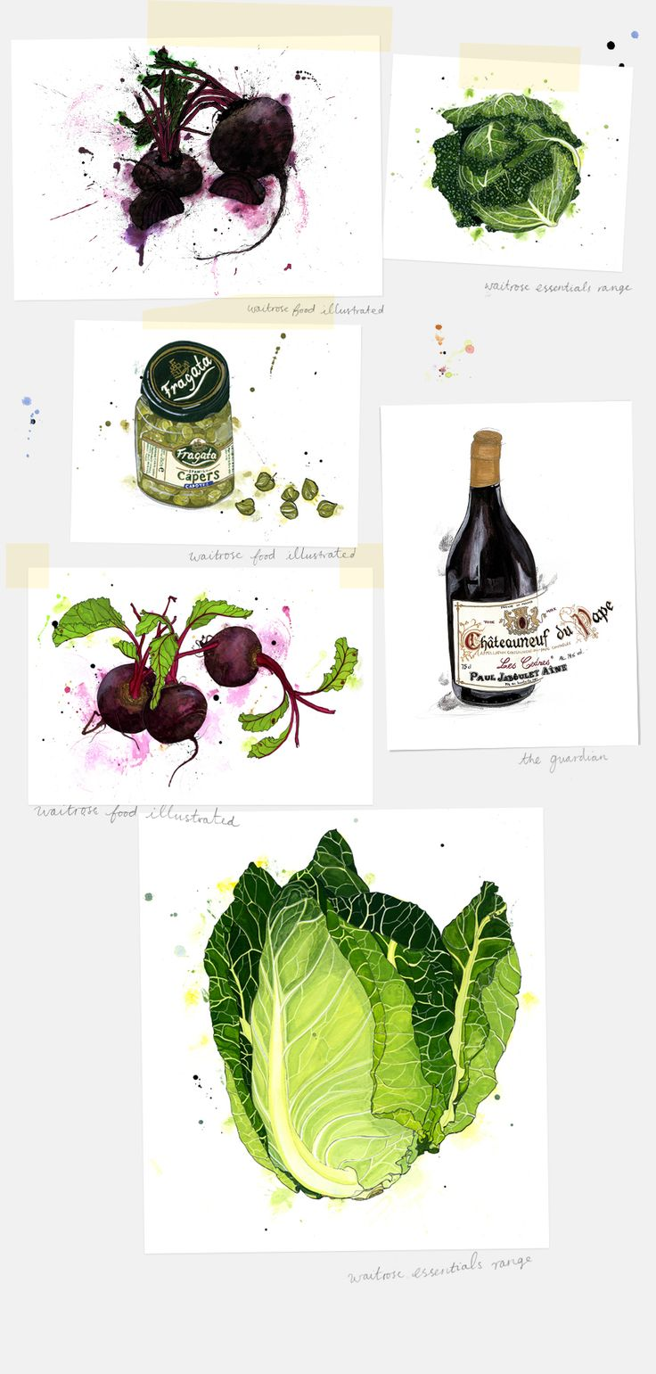 //waitrose food illustrated | Emma Dibben Quality observed drawings of everyday objects but quirky, slightly messy - artist is trying to illustrate the imperfections of real food