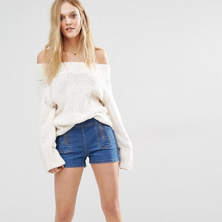 Free People Be Mine Zipper Shorts in Denim Blue