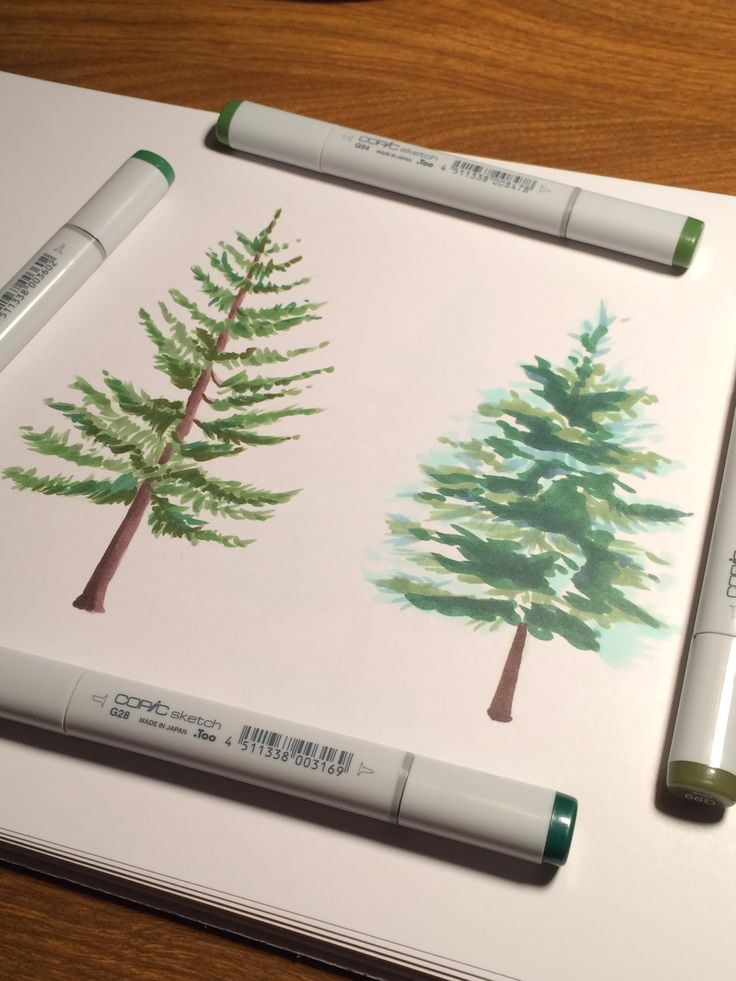 Evergreen watercolor style trees created with Copic markers....only pinning for the Bob Ross reference