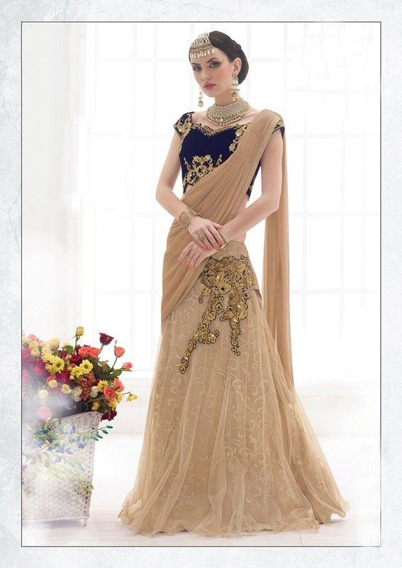 buy saree online Chiku Colour Net Embroidery Work Lehenga Saree Buy Saree online UK  - Buy Sarees online
