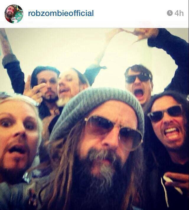 Rob Zombie, John 5 and Korn, hanging out at the airport - from Rob Zombie's Instagram - gls