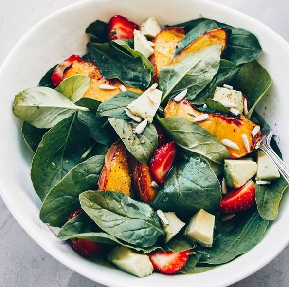 Spinach Salad with Strawberries and Roasted Peaches