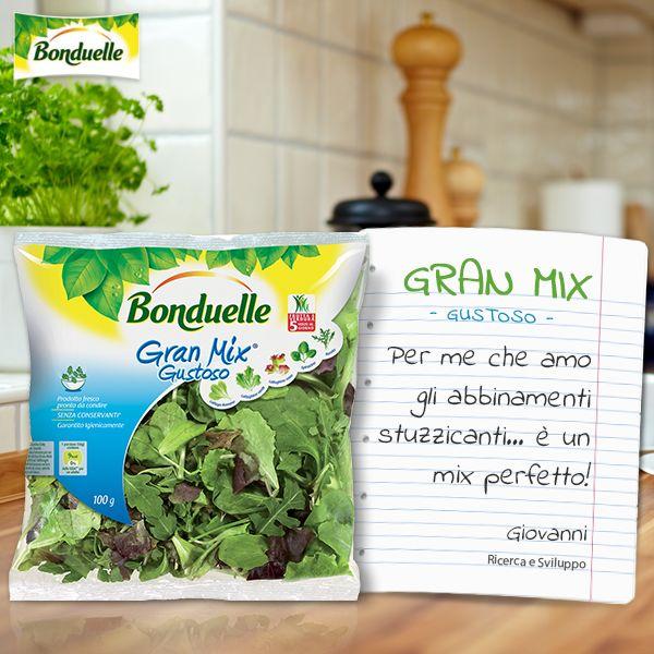 Il Gran Mix Gustoso #Bonduelle è un misto di stuzzicanti sapori: la delicatezza del  #lattughino verde, del  lattughino rosso e della #lattuga romana incontra il sapore intenso dello #spinacino e il gusto piccante della #rucola per un mix originale e sfizioso. http://www.bonduelle.it/prodotti/le-insalate-miste/gran-mix-gustoso/