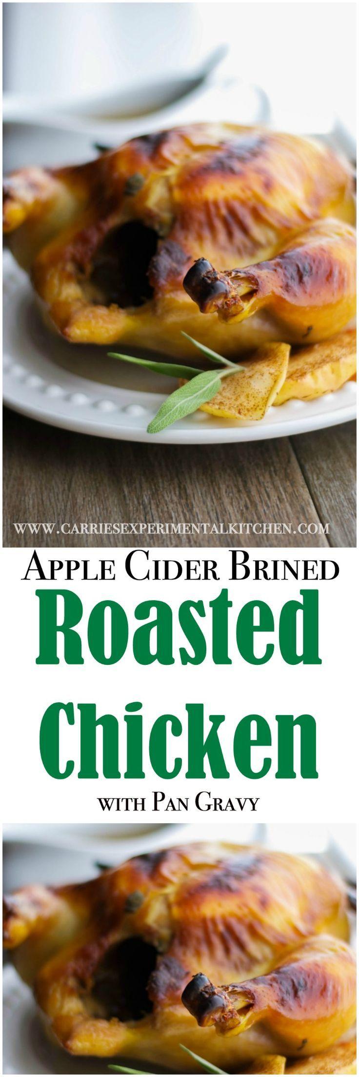 Whole chicken brined in mixture of apple cider, water, brown sugar, Kosher salt…