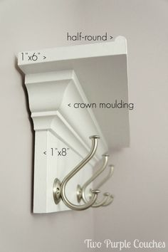 What you'll need to build a wall shelf with hooks. via www.twopurplecouches.com