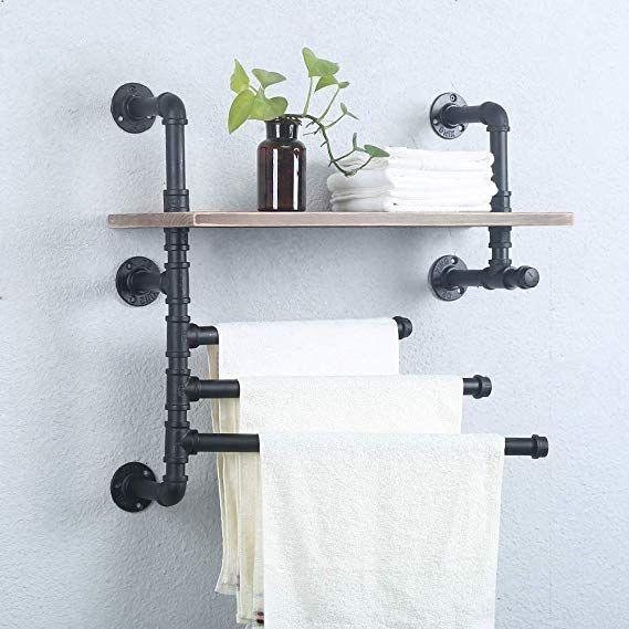 Amazon Com Industrial Towel Rack With 3 Towel Bar Rustic Bathroom
