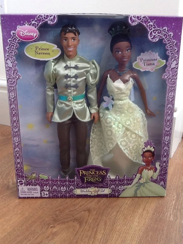 NEW! U.S Mattel Disney Princess & The Frog Tiana & Prince Naveen Wedding Dolls