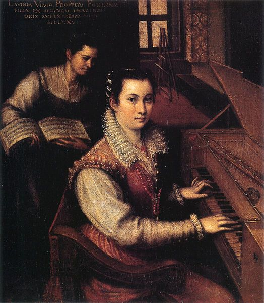 Self-portrait of Lavinia Fontana, who is regarded as the first woman artist outside a court or convent.